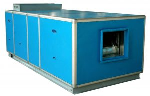 Air handling unit with filters, centrifugal fan, treated air