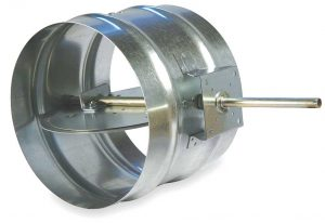 round volume control damper with butterfly flap, plenum for diffuser, grills, jet nozzles