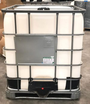 IBC storage handling with pallet, protection cage